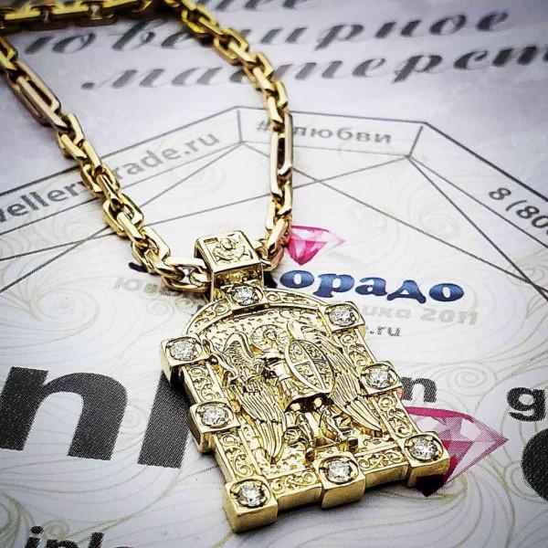 """Икона нательная """"Архангел Михаил"""" с бриллиантами"""