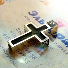 Православный нательный крест из серебра с агатом..
