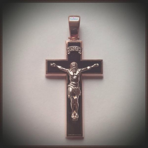 Золотой Православный Крест с распятием на агате