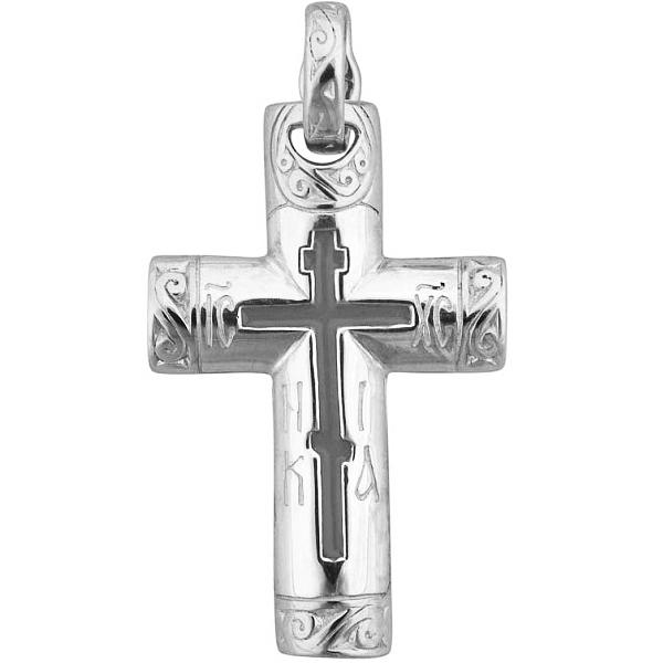 8575, Крест Православный из белого золота с эмалью, 7412, 42 000.00 р., 7412, , 3D Модели Православных нательных крестов