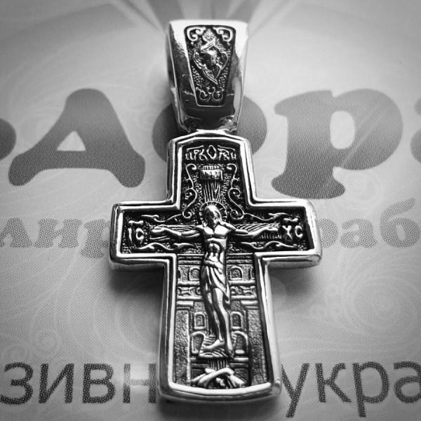 """Крест Православный """"Распятие Христово и Святитель Николай"""" из белого золота с чернением"""