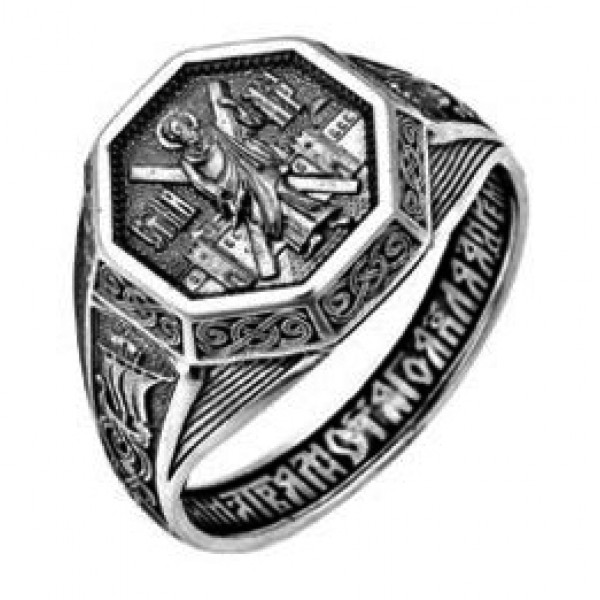 Кольцо из серебра с молитвой
