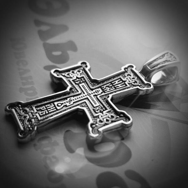 """Крест Православный """"Голгофа"""" из серебра с чернением"""