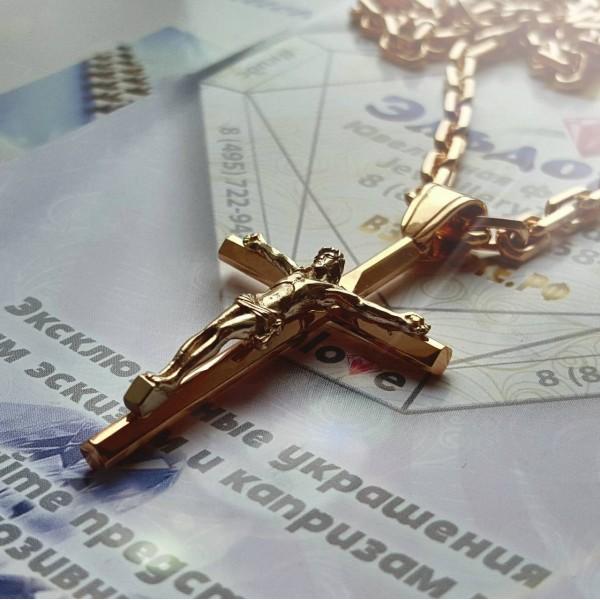 Золотой Православный Крест с Распятием