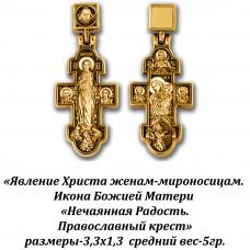"""Православный крест с изображением Явления Христа жёнам-мироносицам и Иконы Божией Матери """"Нечаянная Радость""""."""