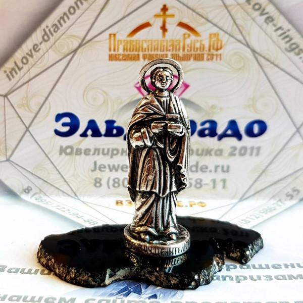 """Православная статуэтка """"Святой Целитель Пантелеймон"""" из серебра"""
