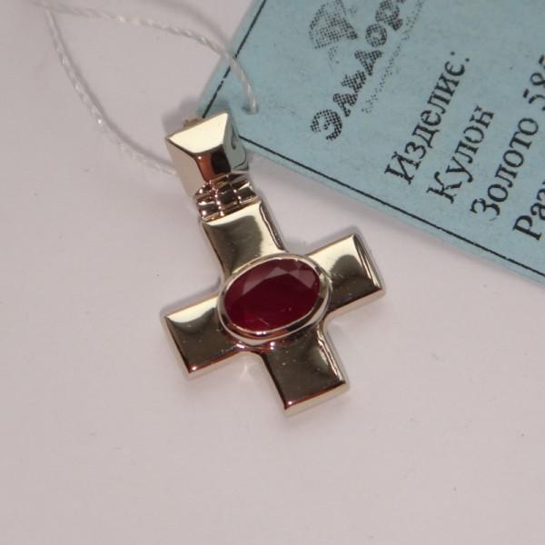 Православный крест из белого золота с рубином