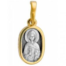 """Икона нательная из комбинированного золота """"Святая Мария Магдалина"""""""
