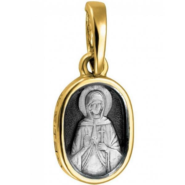 """Икона нательная из комбинированного золота """"Святая мученица Ника"""""""