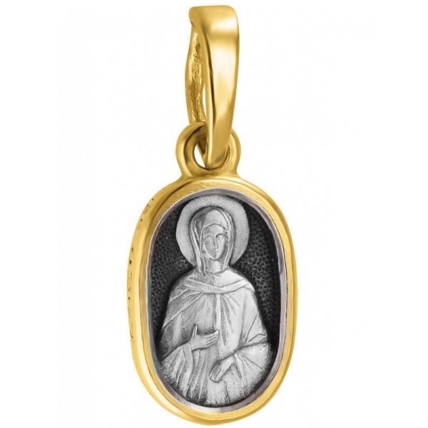 """Икона нательная из комбинированного золота """"Святая мученица Светлана"""""""