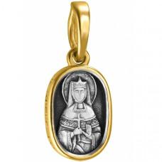 """Икона нательная из комбинированного золота """"Святая великомученица Екатерина"""""""