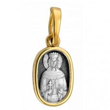 """Икона нательная из комбинированного золота """"Святая великомученица Ирина"""""""