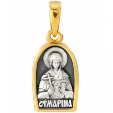 """Икона нательная из комбинированного золота """"Святая великомученица Марина"""""""