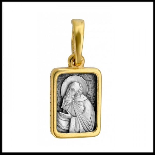 """Икона нательная из комбинированного золота """"Святой Антоний"""""""