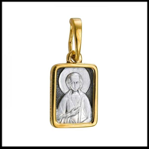 """Икона нательная из комбинированного золота """"Святой Артемий Веркольский"""""""