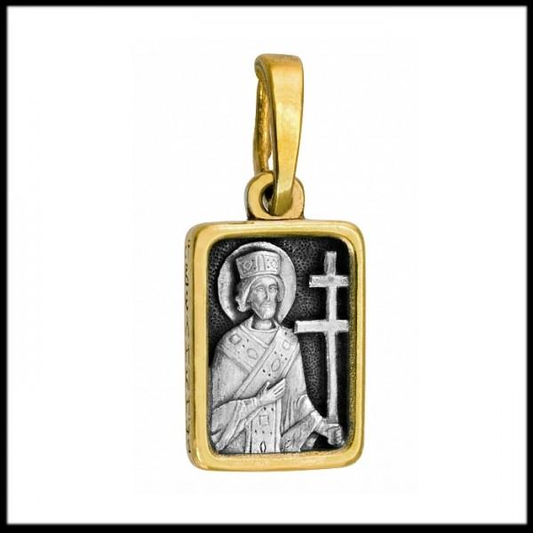 """Икона нательная из комбинированного золота """"Святой Константин"""""""