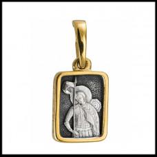 """Икона нательная из комбинированного золота """"Святой Никита"""""""
