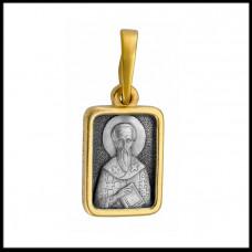 """Икона нательная из комбинированного золота """"Святой Василий"""""""