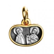 """Икона нательная из комбинированного золота """"Святых  Петра и Февронии"""""""