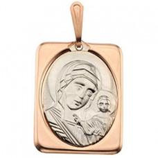 """Икона """"Богородицы"""" нательная из комбинированного золота"""