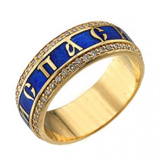 Кольцо с молитвой из желтого золота с бриллиантами