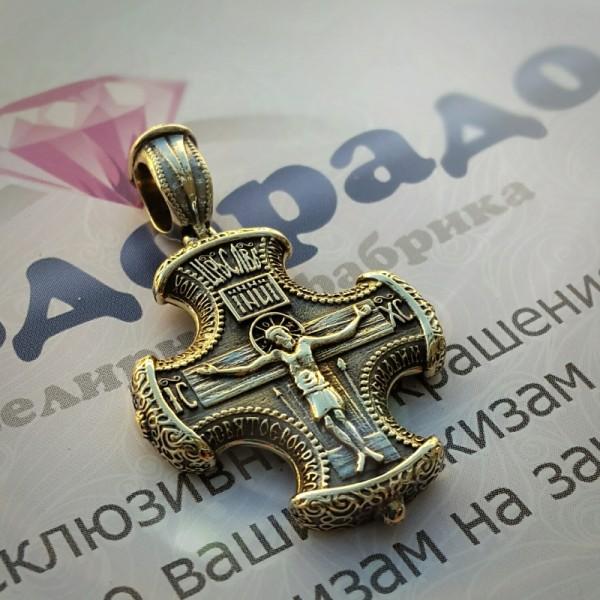 Эксклюзивный православный крест из лимонного золота