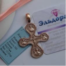 Эксклюзивный православный крест со Святыми на выбор из красного золота ручной работы