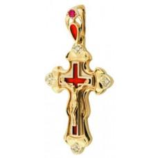 Крест из комбинированного золота с бриллиантами, рубином и эмалью