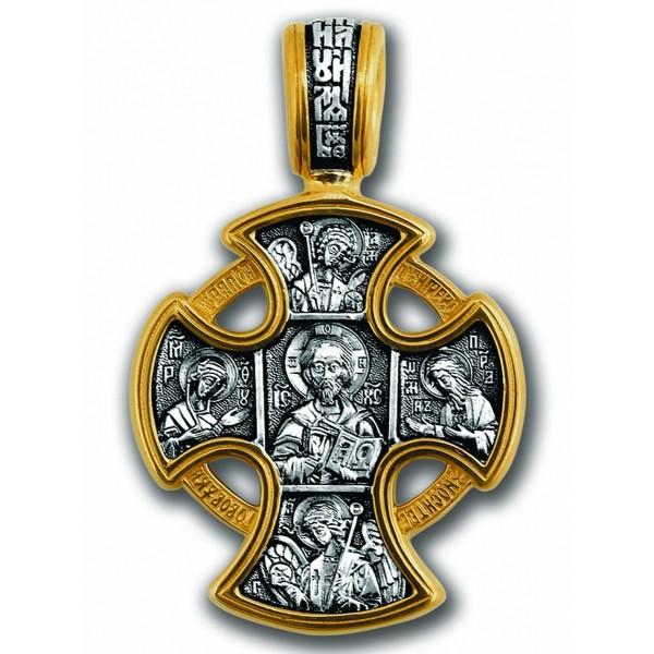 Крест из комбинированного золота с молитвой