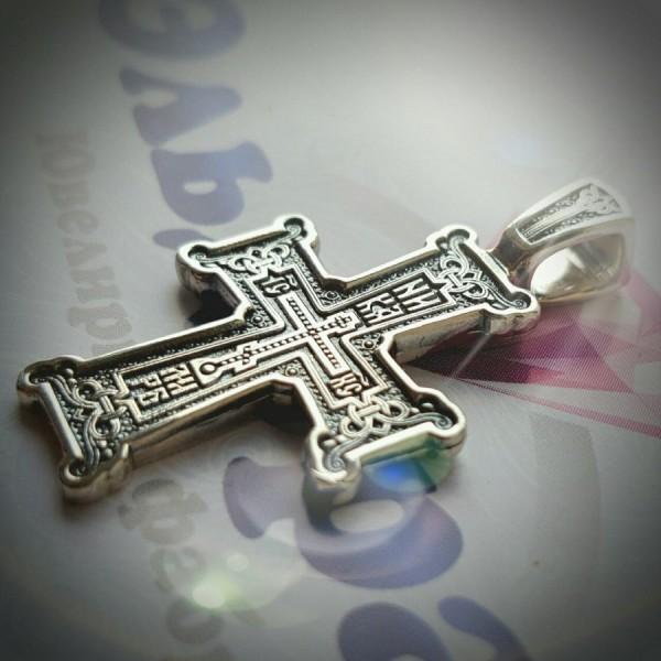 """Крест Православный """"Голгофа"""" из белого золота с чернением"""