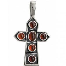 Крест Православный из белого золота с гранатами