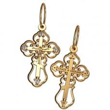 Крест Православный из желтого золота с бриллиантами