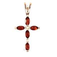 Крест Православный из желтого золота с бриллиантом и рубинами