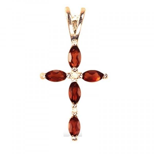 8639, Крест Православный из желтого золота с бриллиантом и рубинами, 7476, 98 600.00 р., 7476, , 3D Модели Православных нательных крестов