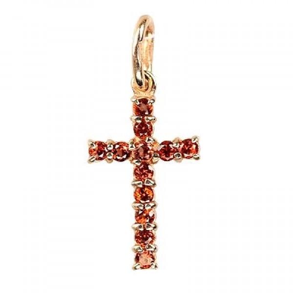 8640, Крест Православный из желтого золота с рубинами, 7477, 36 600.00 р., 7477, , 3D Модели Православных нательных крестов