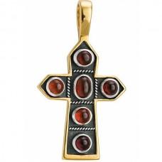 Крест Православный из желтого золота с рубинами