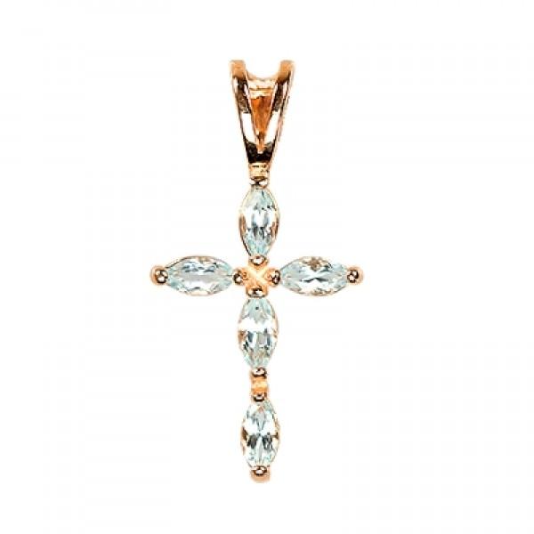 8636, Крест Православный из желтого золота с топазами, 7473, 27 400.00 р., 7473, , 3D Модели Православных нательных крестов