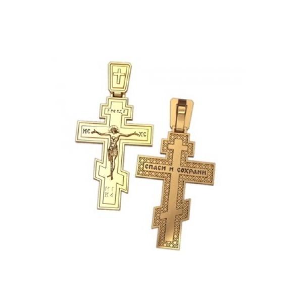 8546, Крест Православный из желтого золота, 7349, 27 000.00 р., 7349, , 3D Модели Православных нательных крестов