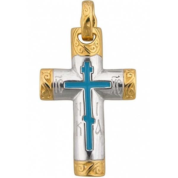 8575, Крест Православный из комбинированного золота с эмалью, 7412, 42 000.00 р., 7412, , 3D Модели Православных нательных крестов
