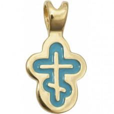 Крест Православный из желтого золота с эмалью