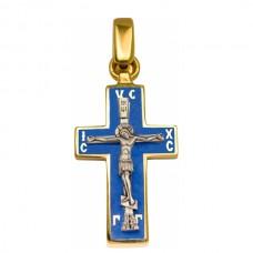 Крест Православный из комбинированного золота с эмалью