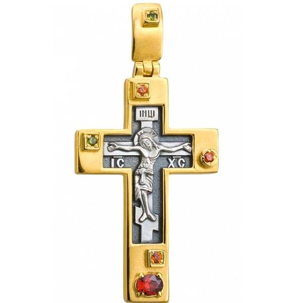 8645, Крест Православный из комбинированного золота с рубинами и хризолитами, 7482, 63 760.00 р., 7482, , 3D Модели Православных нательных крестов