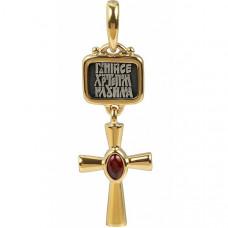 Крест Православный из комбинированного золота с рубином