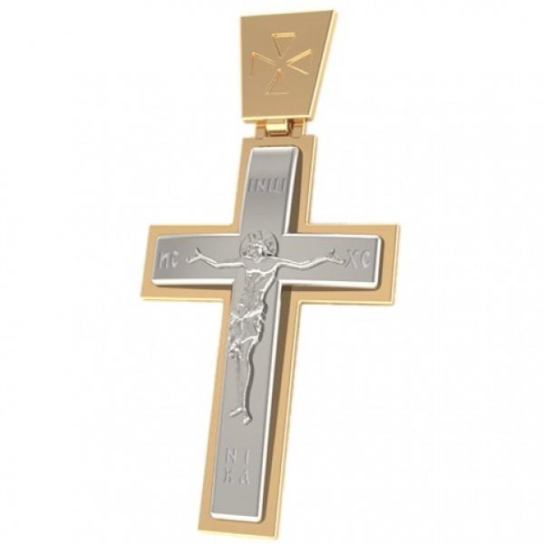 8497, Крест Православный из комбинированного золота, 2568, 15 600.00 р., 2568, , 3D Модели Православных нательных крестов