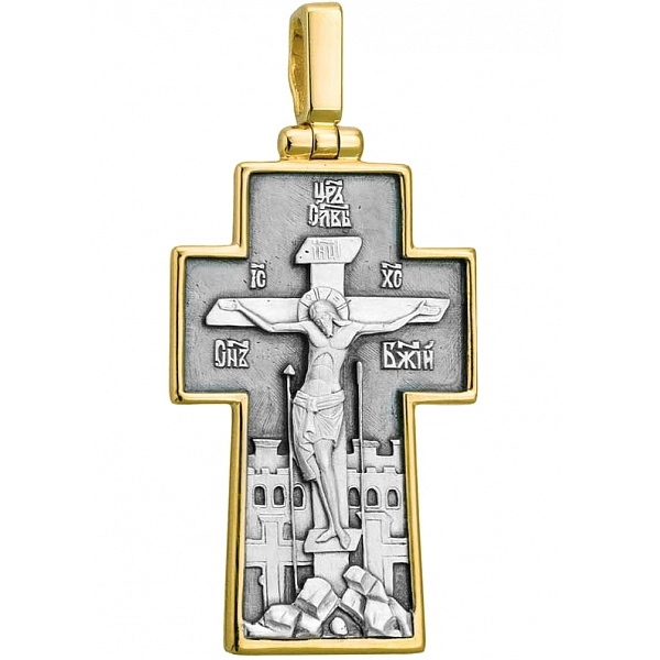 8602, Крест Православный из комбинированного золота, 7439, 75 000.00 р., 7439, , 3D Модели Православных нательных крестов