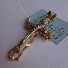 Крест Православный многоуровневый, из комбинированного золота