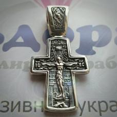 """Крест Православный """"Распятие Христово и Святитель Николай"""" из розового золота с чернением"""