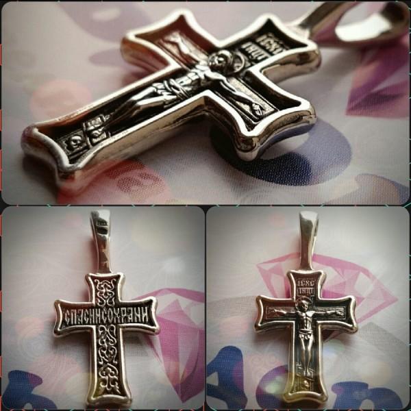 """Крест Православный """"Распятие Христово"""" из розового золота с чернением"""