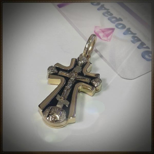 Крест Православный с распятием из комбинированного золота с эмалью