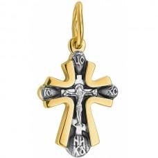 Крест Православный с распятием из комбинированного золота